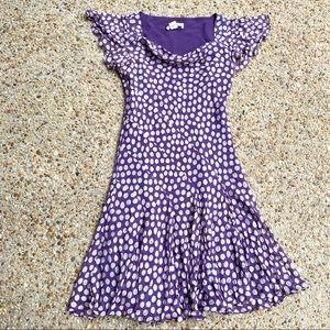 Adrianna Papell Silk Purple Polka Dot Midi Dress